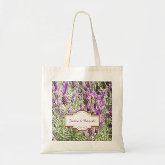 French Lavender Flowers Personalized Wedding Tote Bag