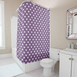 French Lilac White Hearts Pattern Shower Curtain