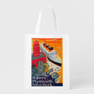 French Line Travel Poster, Havre to Plymouth, NY Reusable Grocery Bag