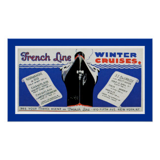 French Line Winter Cruises Poster