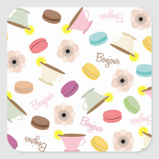 French Macarons Teacups & Anemones Sticker