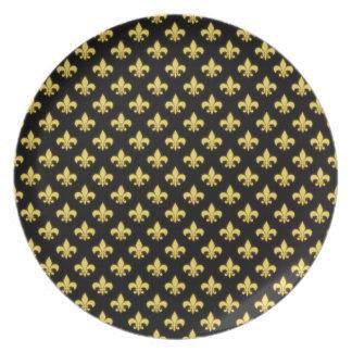 French Mardi Gras Fleur De Lis New Orleans Texture Dinner Plate