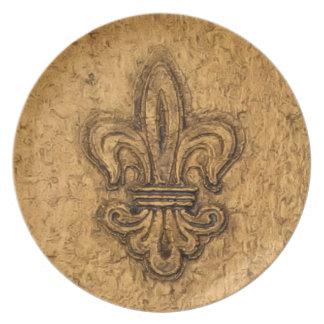 French Mardi Gras Fleur De Lis New Orleans Texture Party Plate