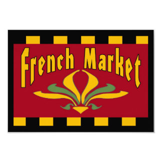 French MARKET 9 Cm X 13 Cm Invitation Card