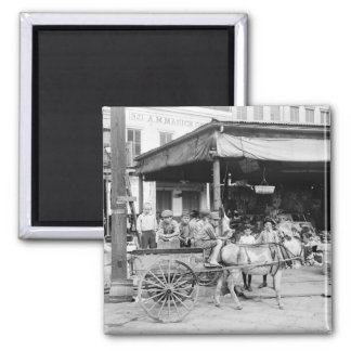 French Market, New Orleans, 1910 Square Magnet