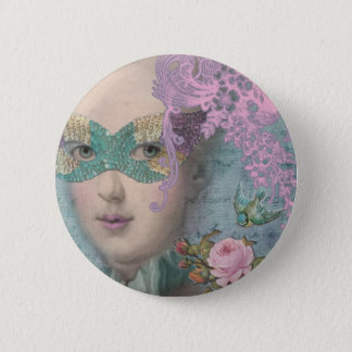 French Masquerade 6 Cm Round Badge