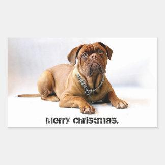 French Mastiff Deadpan Dog Merry Christmas Sticker
