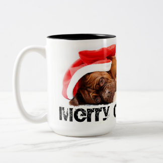 French Mastiff Dog Tired Santa Merry Christmas Two-Tone Coffee Mug
