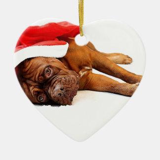 French Mastiff in Santa Hat Ceramic Ornament