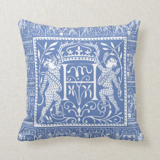 French Medieval Chateau Blue Letter H Cushion