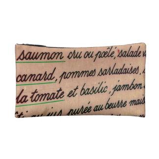 French menu cosmetics bags