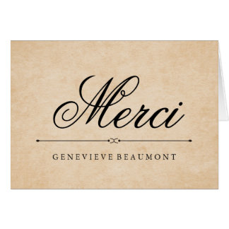 French Merci Thank You on Vintage Look Paper Card