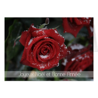 French Merry Christmas-Happy New Year snowy red ro Greeting Card