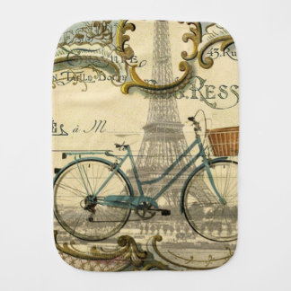 french modern vintage bike paris eiffel tower baby burp cloths