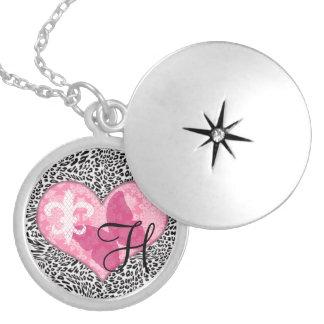 French Monogram Round Locket Necklace