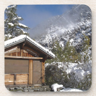 french mountain warming hut drink coaster