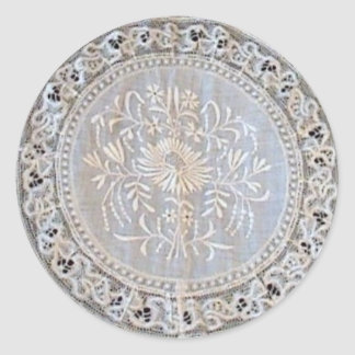 French Normandy Lace Whitework Round Classic Round Sticker