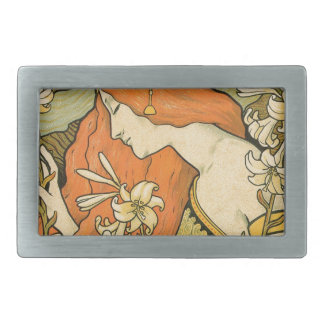 French Nouveau Pinup Girl in Field of Honeysuckles Belt Buckles