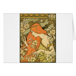 French Nouveau Pinup Girl in Field of Honeysuckles Card