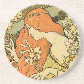 French Nouveau Pinup Girl in Field of Honeysuckles Coaster