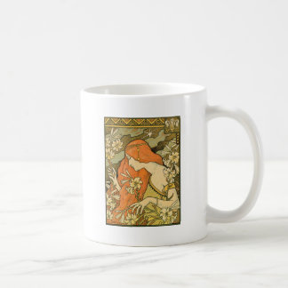 French Nouveau Pinup Girl in Field of Honeysuckles Coffee Mug