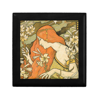 French Nouveau Pinup Girl in Field of Honeysuckles Gift Box