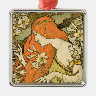 French Nouveau Pinup Girl in Field of Honeysuckles Metal Ornament