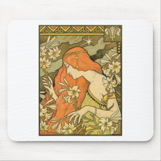 French Nouveau Pinup Girl in Field of Honeysuckles Mouse Pad