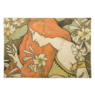French Nouveau Pinup Girl in Field of Honeysuckles Place Mat