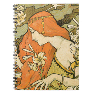 French Nouveau Pinup Girl in Field of Honeysuckles Spiral Notebook