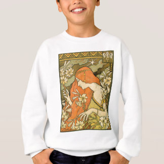 French Nouveau Pinup Girl in Field of Honeysuckles Sweatshirt