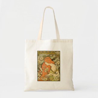 French Nouveau Pinup Girl in Field of Honeysuckles Tote Bag