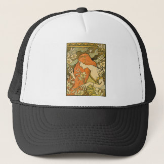 French Nouveau Pinup Girl in Field of Honeysuckles Trucker Hat