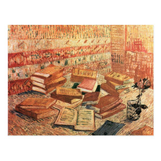French novels, and glass Rose by Van Gogh Postcards