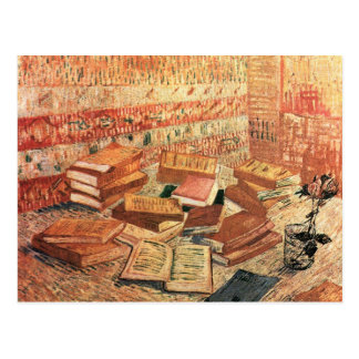 French novels, and glass Rose by Van Gogh Postcard