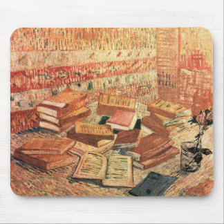 French novels, and glass with Rose - van Gogh Mousepad