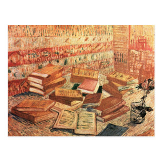 French novels, and glass with Rose - van Gogh Post Card