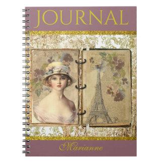 French Paris Eiffel Tower Woman Journal Vintage