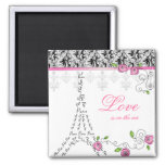 French Paris Love Magnet Pink Roses