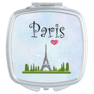 French Paris with Eiffel Tower Compact Mirror