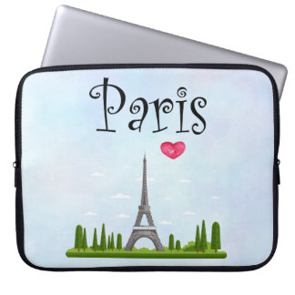 French Paris with Eiffel Tower Laptop Sleeve