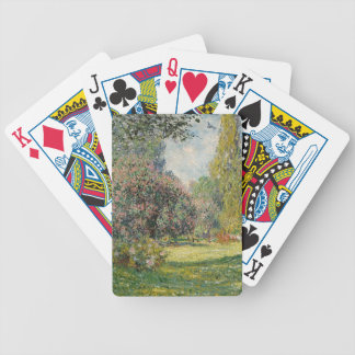 French park during the day bicycle playing cards