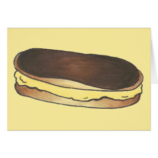 French Pastry Chocolate Custard Eclair Baking Food Card