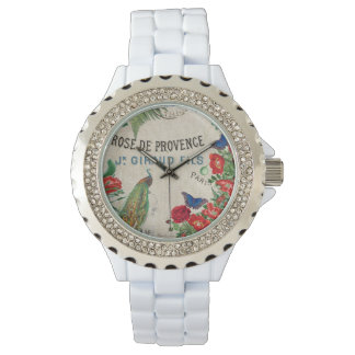 French Peacock Birds Rose Flower Paris Watch
