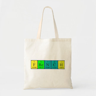 French periodic table patriotic tote bag