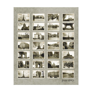 French Photo Collage Gallery Wrap Canvas