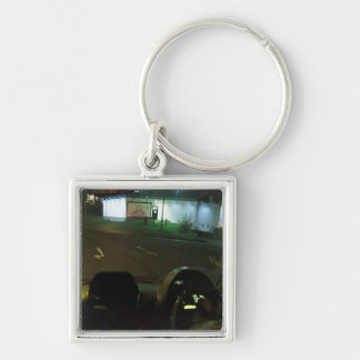 French Photography Culture Love Romance Hug fun Silver-Colored Square Key Ring
