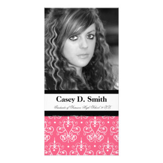French Pink Damask Special Event Photocard Photo Card Template