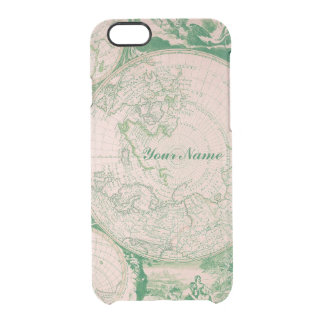 French Pink Green World Map for Samsung Galaxy Clear iPhone 6/6S Case