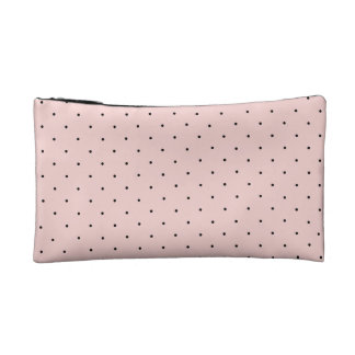 French pink with black polka-dot sophisticated bag cosmetics bags